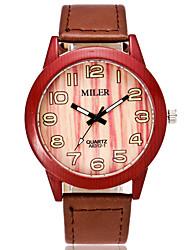 Mulheres Relógio de Moda Único Criativo relógio Relógio Madeira Quartzo PU Banda Laranja Marrom Cáqui