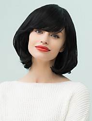 Bang inclinado peluca de cabello natural, wavyhuman medio bob