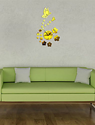 Modern Large 3D Clocks Acrylic Mirror Butterfly Flower Surround Wall Sticker Stickers Home Decor
