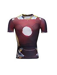 Unisex Short Sleeve Running T-shirt Tops Breathable Comfortable Summer Sports Wear Running LYCRA® Slim Red Solid