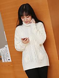 signer korean personnalisé mode laine couture balle roulé tempérament féminin couverture chandail à manches longues courte