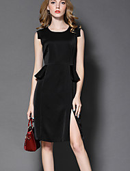 Women's Going out Formal Party/Cocktail Simple Street chic Sophisticated A Line Sheath Dress,Solid Peplum Round Neck Above Knee Sleeveless
