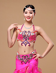 Belly Dance Outfits Women's Performance Cotton Polyester Buttons Crystals/Rhinestones Sequins 2 Pieces Bra and belt