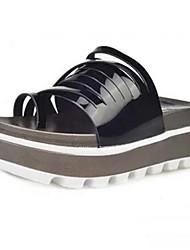 Damen-Flache Schuhe-Lässig-PU-Flacher Absatz-Komfort Leuchtende Sohlen-Schwarz Weiß Silber Grau