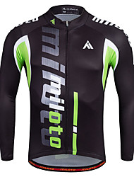 Sports Cycling Jersey Men's Long Sleeve BikeBreathable Quick Dry Moisture Permeability Front Zipper Reflective Strips Sweat-wicking Soft