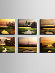 Mini Size E-HOME Oil painting Modern Pond Sunset View Pure Hand Draw Frameless Decorative Painting