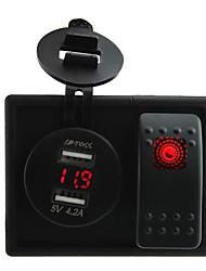 / 24v de rouge dc conduit 4.2a numérique dual usb prise chargeur voltmètre avec interrupteur à bascule fils de cavalier et porte-logement