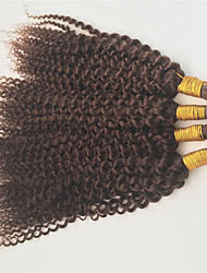 10-30 Mongolian Afro Kinky Curly Human Braiding Hair Bulk Medium Brown Afor Curl No Attachment