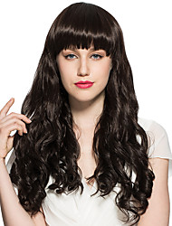 Water Wavy Wig Synthetic Fiber Long Neat Bangs Women Wig Costume Cosplay Hairstyle