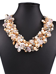 The European and American fashion brand luxury temperament joker 0306 # crystal multilayer imitation pearls woven necklace