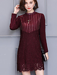 Women's Plus Size Sexy Lace Dress,Striped Stand Above Knee Long Sleeve Acrylic Red Black Winter Mid Rise Inelastic