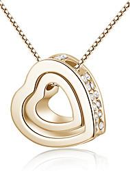 Colar Zircônia cúbica Colares com Pendentes Jóias Diário Formato de Coração Coração Liga Feminino 1peça Dom Dourado Azul Rosa Chiclete