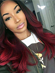 Grade 9A Brazilian Virgin Hair Lace Front Wigs Loose Wave Hair Ombre T1B/99J Color Virgin Human Hair Lace Wigs For Woman