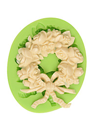 Beautiful Wreath Silicone Fondant Cake Molds Chocolate Mould Kitchen Baking Decoration Tool Color Random