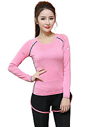Women's Running T-Shirt Long Sleeves Quick Dry Breathable T-shirt Top for Yoga Exercise & Fitness Running Modal Slim Gray Purple Fuchsia
