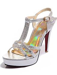 Women's Sandals Spring Summer Fall Club Shoes PU Synthetic Wedding Party & Evening Dress Stiletto Heel Rhinestone Black Silver Gold