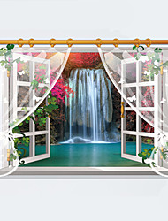 3D Landscape Painting False Window Waterfall 3D Wall Stickers Removable Creative Living Room Bathroom Wall Decals