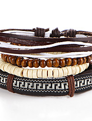 Wooden ball leather cord bracelet adjustable wax rope weaving beaded embroidery bracelet # 0336 back word lines the Great Wall