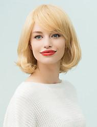curta bangs oblíqua a moda natural peruca de cabelo humano ondulado