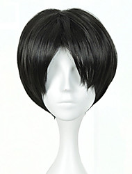 Short Straight Haircut Anime Attack On Titan Cosplay Harajuku Male Wigs Men's Daily Wearing Party Wig Heat Resistant Black Wig