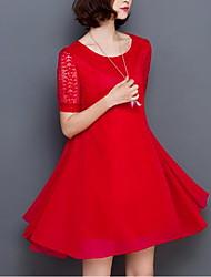 Feminino Solto balanço Vestido, Para Noite Tamanhos Grandes Simples Sólido Floral Decote Redondo Altura dos Joelhos Manga CurtaVermelho