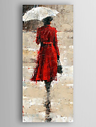 Hand-Painted  Abstract Woman with a Umbrella Oil Painting With Stretcher For Home Decoration Ready to Hang