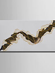 E-HOME Oil painting Modern Abstract Golden Lines Pure Hand Draw Frameless Decorative Painting