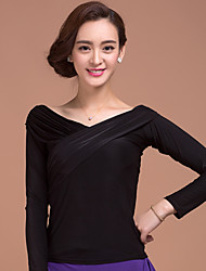 Ballroom Dance Tops Women's Training Criss-Cross 1 Piece Long Sleeve Natural Top