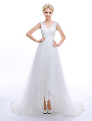 A-line Wedding Dress - Classic & Timeless Elegant & Luxurious Vintage Inspired Lacy Looks Wedding Dresses in Color Floral Lace Court Train