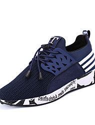 Men's Sneakers Spring Other PU Casual Flat Heel Ruffles Split Joint Black Gray Navy Blue Other