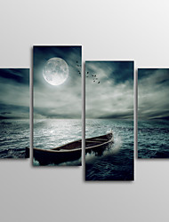 Canvas Print Landscape Modern Moon BoatFour Panels Canvas Horizontal Print Wall Decor For Home Decoration