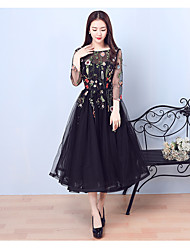 Cocktail Party Prom Dress - Little Black Dress A-line Jewel Tea-length Tulle with Embroidery