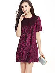 Women's Going out Casual Simple Street chic Loose DressSolid Round Neck Short Sleeve