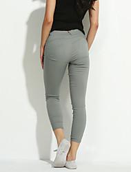 Femme Couleur Pleine Legging,Coton Spandex Moyen