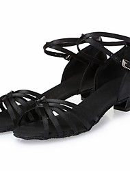Kids' Dance Shoes Latin shoes Satin Satin Latin Heels Chunky Heel Indoor Black L18