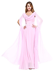 Ball Gown Mother of the Bride Dress - Elegant Floor-length Long Sleeve Chiffon with Beading