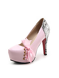 Women's Heels Spring Summer Fall Other PU Party & Evening Casual Chunky Heel Bowknot Black Pink White