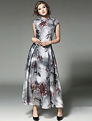 Women's Casual/Daily Simple Sheath Dress,Print Stand Maxi Sleeveless Polyester Gray Summer Mid Rise Inelastic
