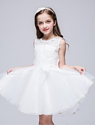 A-line Knee-length Flower Girl Dress - Organza Jewel with Bow(s) Lace