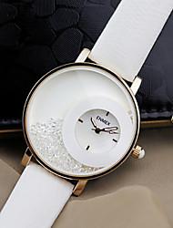 Mulheres Relógio de Moda Quartzo Couro Banda Preta Branco marca