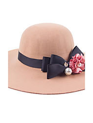 Autumn And Winter Fashion Flowers Bowknot Cashmere Big Hat Along The Hat