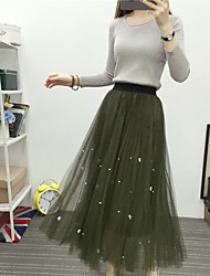 Korean veil beaded sun pleats pleated skirts and long sections waist big swing skirts women