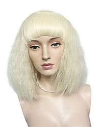 Lady Gaga Style Kinky Curly Wig Synthetic Fiber Wig Hairstyle Bleach Blonde Short Bob Wig