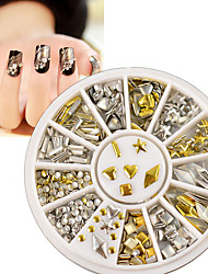 Gold Silver Metal Nail Art Stickers Decor Rhinestones Tips Metallic Studs 120Pcs