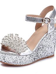 Women's Sandals Spring Summer Fall Club Shoes Sheepskin Wedding Party & Evening Dress Wedge Heel Sparkling Glitter Silver