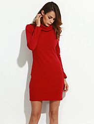 Women's Going out Simple Sheath Dress,Solid Turtleneck Mini Long Sleeves Cotton Fall Mid Rise Stretchy Thick