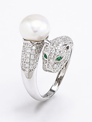 Ring Imitation Pearl AAA Cubic Zirconia Daily Casual Jewelry Silver Imitation Pearl Zircon Women Ring 1pc,One Size Silver