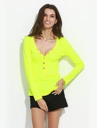 T-shirt Da donna Casual Sensuale Primavera Autunno,Tinta unita A V Cotone Poliestere Manica lunga Medio spessore