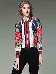 Women's Work Vintage Summer Shirt,Print Shirt Collar Long Sleeve Blue Rayon Thin