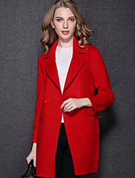 Women's Going out Casual/Daily Cute Coat,Solid Stand Long Sleeve Winter Wash inside out Dry flat Wool Short